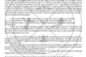 #STAPSenPeril, Situation de crise au département STAPS de Chambéry