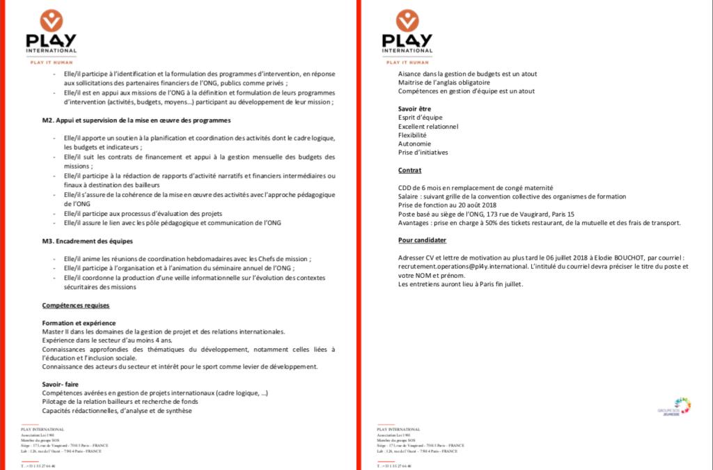 Responsable des opérations – Pl4Y International