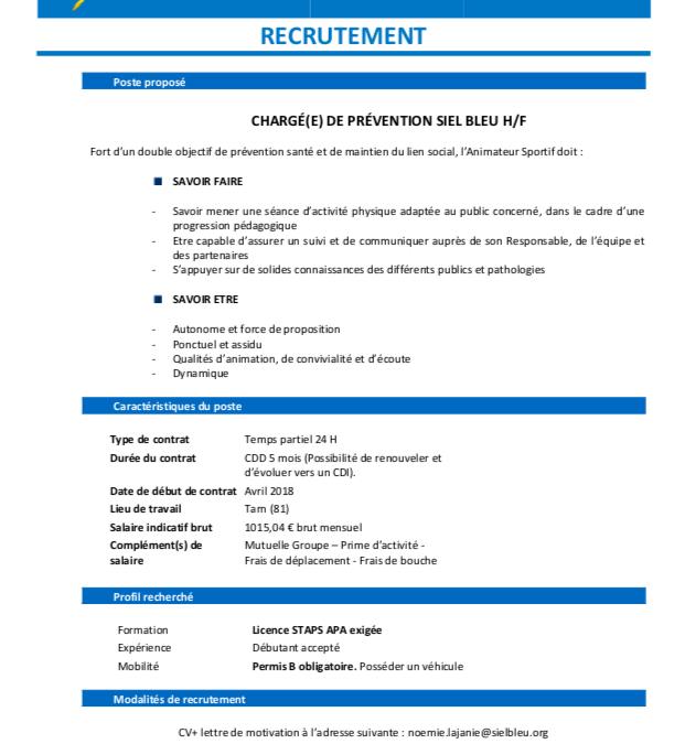 CDD – Chargé de Prévention – Siel Bleu