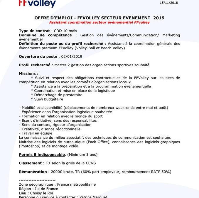CDD – Assistant coordination secteur évènementiel – FFVolley