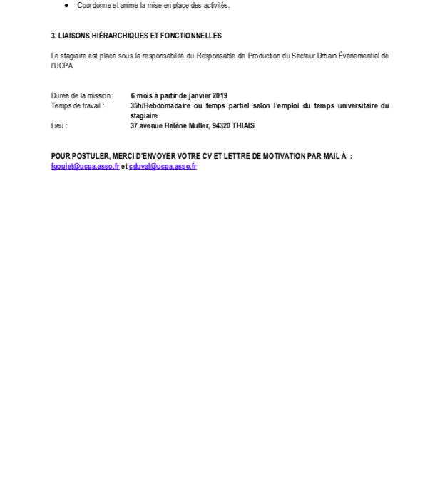 Stagiaire APAS – Coordination du dispositif CAP'Loisirs Sportifs – UCPA